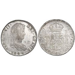 Potosi, Bolivia, bust 8 reales, Ferdinand VII, 1824J, rare single-letter assayer.