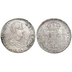 Potosi, Bolivia, bust 8 reales, Ferdinand VII, 1825J, rare single-letter assayer.