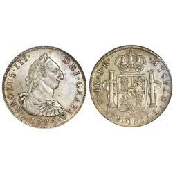 Potosi, Bolivia, bust 4 reales, Charles III, 1775JR, rare, NGC AU 53, ex-Whittier (stated on label).