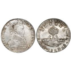 Potosi, Bolivia, 8 soles, 1833L, rare single-letter assayer.