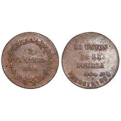 Potosi, Bolivia, copper 2 centesimos, 1864, rare.