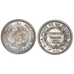 Potosi, Bolivia, proof 20 centavos, 1884FE.