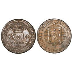 Rio, Brazil, bronze XL (40) reis, Joao VI, 1822-R.