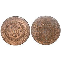 Cuiaba, Brazil, copper 40 reis, Pedro I, 1828-C.
