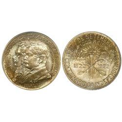 Brazil, aluminum-bronze 1,000 reis, 1922, Independence issue, BBASIL error, PCGS MS65.