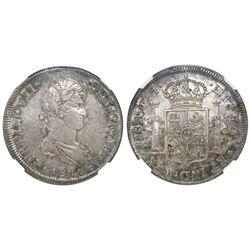 Santiago, Chile, bust 8 reales, Ferdinand VII, 1816FJ, NGC XF 45.
