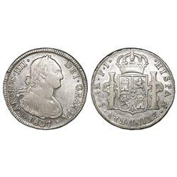 Santiago, Chile, bust 4 reales, Charles IV, 1807FJ.