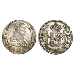 Santiago, Chile, bust 2 reales, Ferdinand VII transitional ( admiral  bust), 1810FJ.