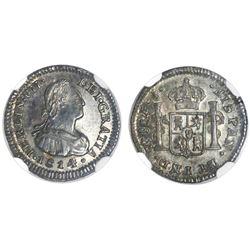 Santiago, Chile, bust 1/2 real, Ferdinand VII, 1814FJ, NGC AU 58.