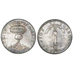 """Santiago, Chile, 1 peso (""""volcano peso""""), 1834I."""