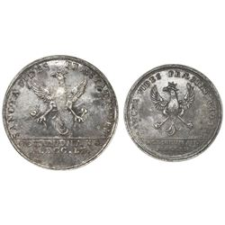 Colombia, pair of uniface silver die-trials of the reverses for 8R- and 4R-sized proclamation medals