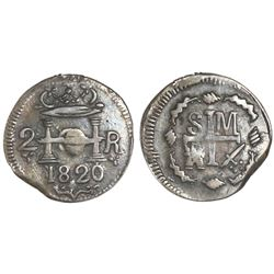 Santa Marta, Colombia, 2 reales, Ferdinand VII, 1820, very rare.