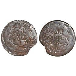 Cartagena, Colombia, copper 2 reales, 1814, retrograde 4 in date.