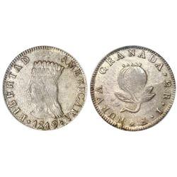 "Bogota, Colombia (Cundinamarca, ""Libertad Americana""), 2 reales, 1819JF, PCGS AU55 (rare grade)."