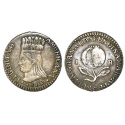 "Bogota, Colombia (Cundinamarca, ""Libertad Americana""), 1 real, 1813JF."