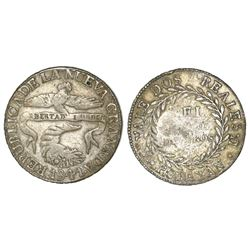 Popayan, Colombia, 2 reales, 1841VU with V/R in assayer (rare).