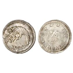 Bogota, Colombia, 1/4 real, 1840, NGC MS 66.