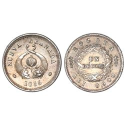 Bogota, Colombia, 1 decimo, 1855.