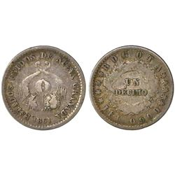 Bogota, Colombia, 1 decimo, 1861, PCGS VF25.