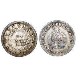 Popayan, Colombia, 1 decimo, 1864, NGC VF 30.