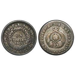 Popayan, Colombia, 1 decimo, 1866, fineness 0.835/0.900.