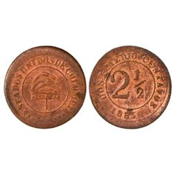 Bogota, Colombia, copper 2-1/2 centavos, 1885.
