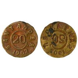 Colombia (Bucamaranga, Santander, necessity coinage), copper uniface 20 centavos, 1902, PCGS AU58, f