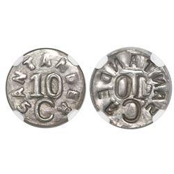 Colombia (Bucaramanga, Santander, necessity coinage), silver uniface 10 centavos, (1902), very rare,