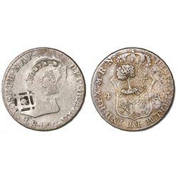 Costa Rica, 2 reales, Type III counterstamp (1845) on a Cuba (Trinidad/Santiago/Principe), 2 reales,