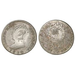 Costa Rica, 2 reales, Type III counterstamp (1845) on a Seville, Spain, 4 reales, 1812LA (Joseph Nap