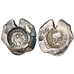 Costa Rica, 2 reales, 1846JB counterstamp (Type V) on a Lima, Peru, cob 2 reales, Philip V, assayer