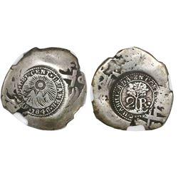 Costa Rica, 2 reales, 1846JB counterstamp (Type V) on a Potosi, Bolivia, cob 2 reales, 1731E, NGC G