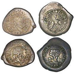 Lot of two counterstamped Costa Rica 1R on Spanish colonial cob 1R of the 1700s: 1846JB (Type V) and