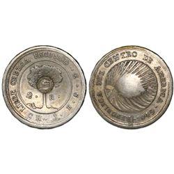 "Costa Rica, 2 reales, ""lion"" countermark (Type VI, 1849-57) on a Costa Rica (Central American Republ"