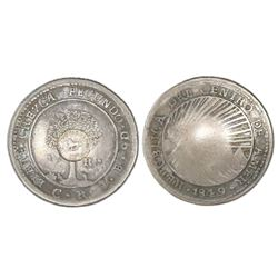 """Costa Rica, 1 real, """"lion"""" countermark (Type VI, 1849-57) on a Costa Rica (Central American Republic"""