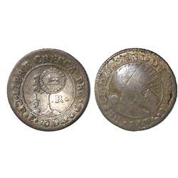 """Costa Rica, 1/2 real, """"lion countermark (Type VI, 1849-57) on a Costa Rica (Central American Republi"""