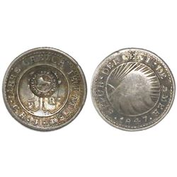 "Costa Rica, 1/2 real, ""lion"" countermark (Type VI, 1849-57) on a Costa Rica (Central American Republ"
