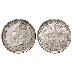 "Costa Rica, 50 centavos, ""lion"" double countermark (Type VII, 1889) on a Bogota, Colombia, 50 centav"