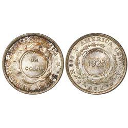 Costa Rica, 1 colon, 1923 countermark (Type VIII) on a Costa Rica 50 centavos of 1918, PCGS MS64, c/