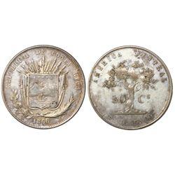 Costa Rica, 50 centavos, 1866/5GW, PCGS VF35, finest and only specimen in PCGS census, ex-Dana Rober