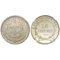 Costa Rica, 50 centavos, 1890/80GW, NGC AU 50, ex-Richard Stuart (stated on label).