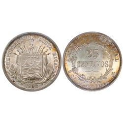 Costa Rica (struck in Birmingham, England), 25 centavos, 1890-HEATON BIRMM, PCGS MS65, finest known