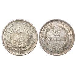 Costa Rica (struck in Birmingham, England), 25 centavos, 1892-HEATON BIRMM.