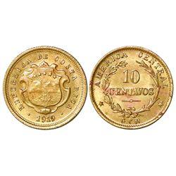 Costa Rica, brass 10 centavos, 1919GCR, PCGS genuine / lacquer - UNC detail.