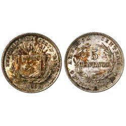 Costa Rica (Heaton mint), 5 centavos, 1890-H, PCGS MS64.