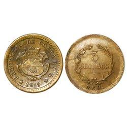 Costa Rica, brass 5 centavos, 1919GCR, PCGS MS62.
