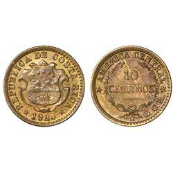 Costa Rica, copper-brass 10 centimos, 1920, GCR to right, PCGS MS63, finest known in PCGS census, ex