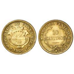 "Costa Rica, brass 10 centimos, 1920, GCR to right. ""ex-Mayer"