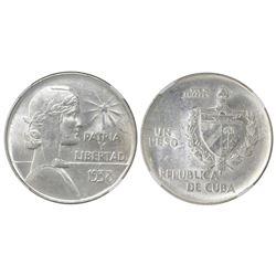 """Cuba, """"ABC"""" peso, 1938, NGC MS 61."""