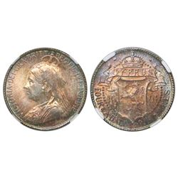 Cyprus, 4-1/2 piastres, Victoria, 1901, NGC UNC Details / surface hairlines, ex-Remick (stated on la